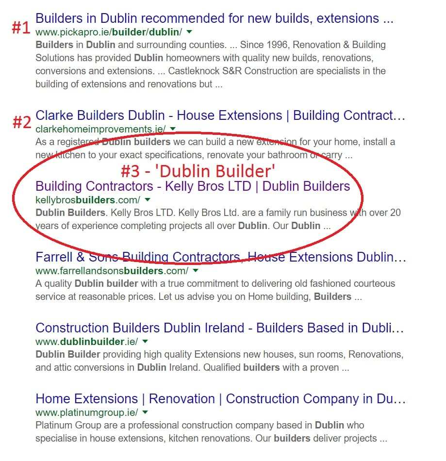 Web Design for Builders Google Screenshot: page 1
