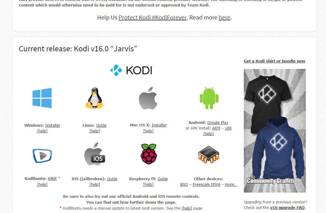 kodi platform options