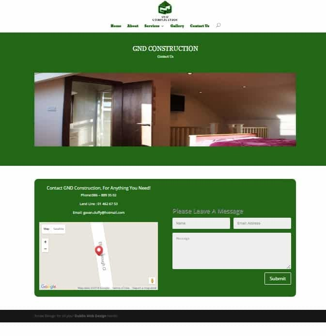 web design for trades - gnd website example page