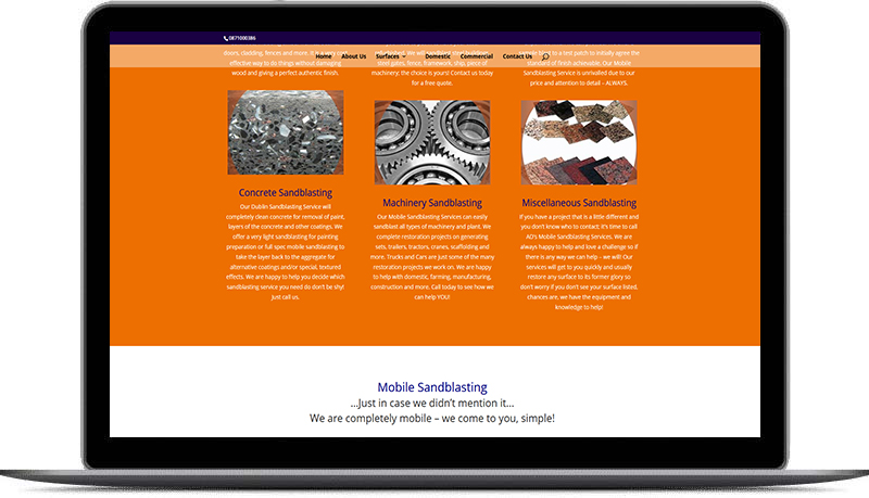 web design for sandblasting
