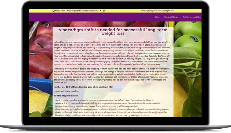 website design for nutrition