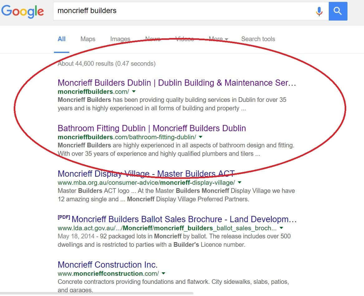 Google Screenshot of Website Design Dublin for Builders Search Term