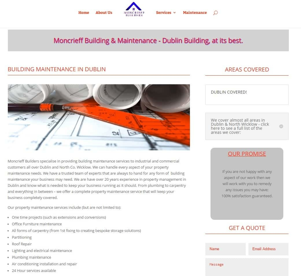 Website Design Dublin for Builders - moncrieff builders home page
