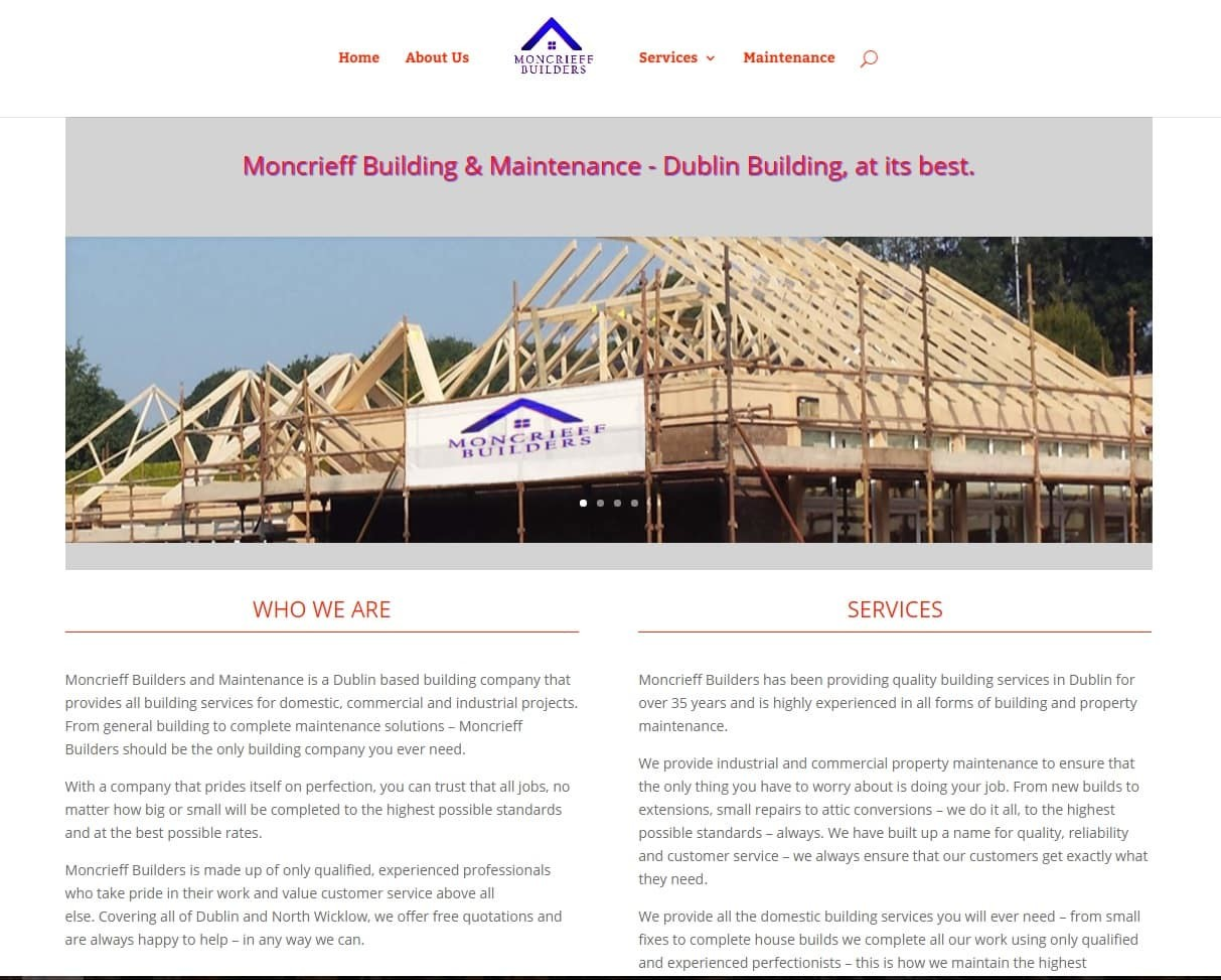 Website Design Dublin for Builders - moncrieff builders about page