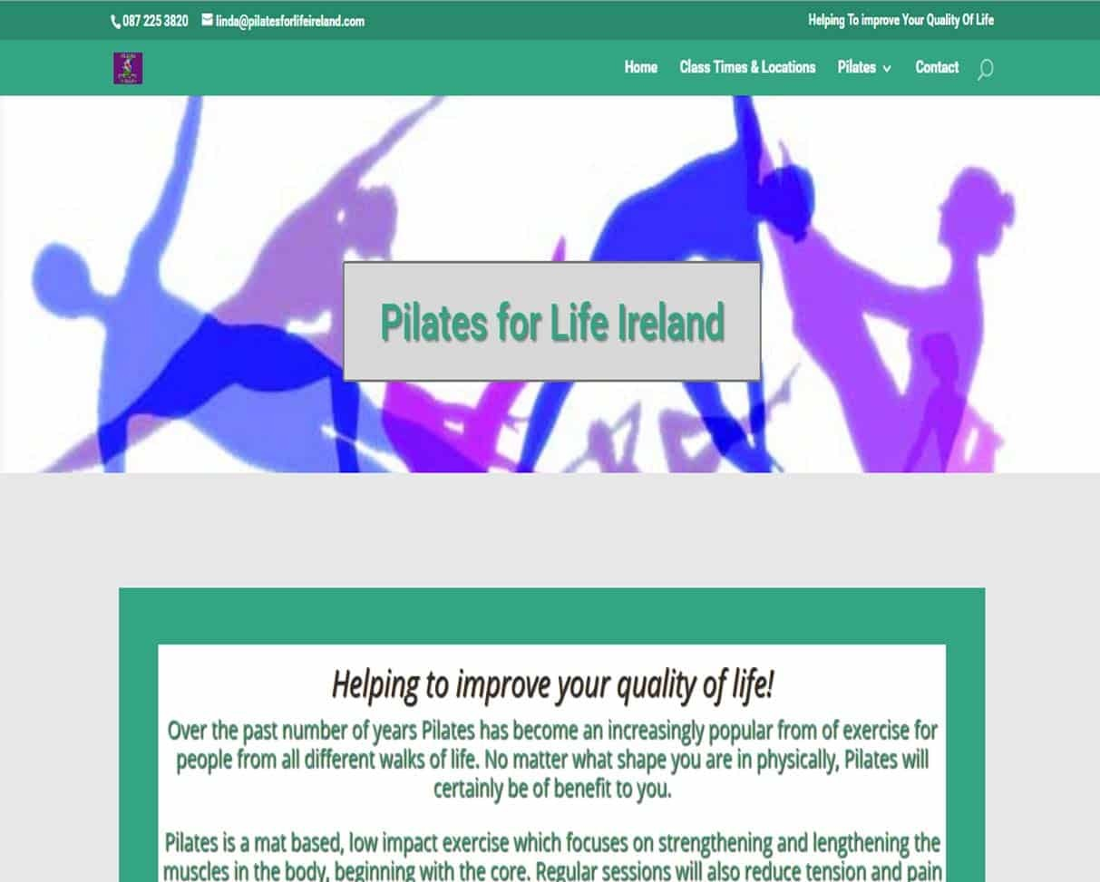 website design for pilates - home page example