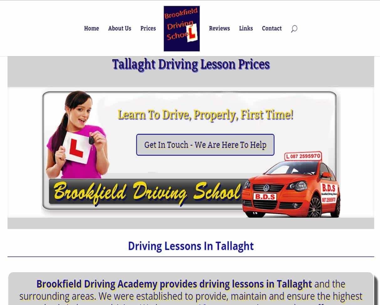 web design for driving instructors - an example screenshot