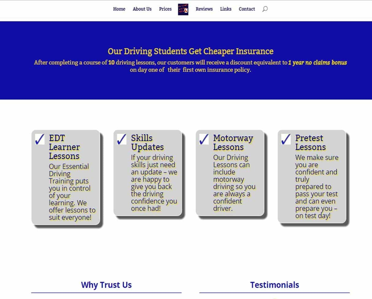 web design for driving instructors - example screenshot