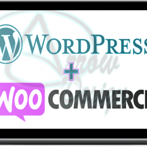 wordpress woocommerce logos on an inset laptop