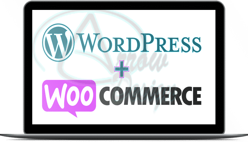 wordpress woocommerce logos on an inset laptop