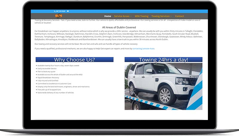 website design for towing services