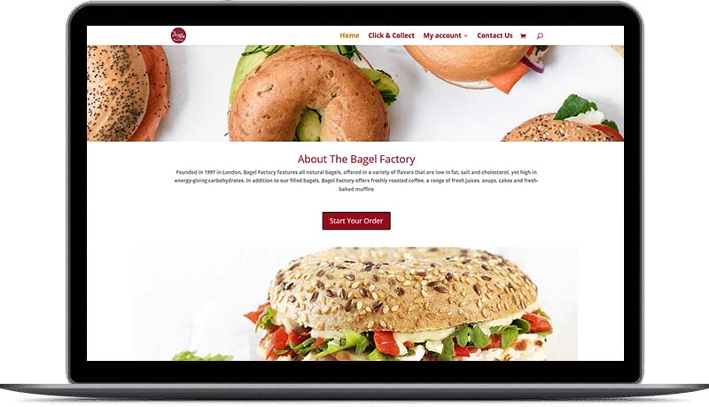 Website design for The Bagel Factory