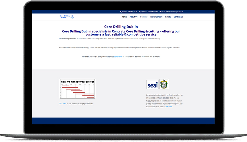 website design for core drilling