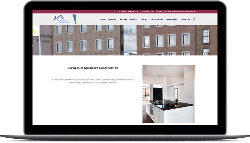 website design for building companies