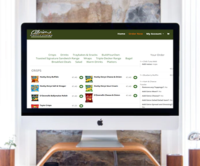 obrien's pavilions website design with ecommerce system