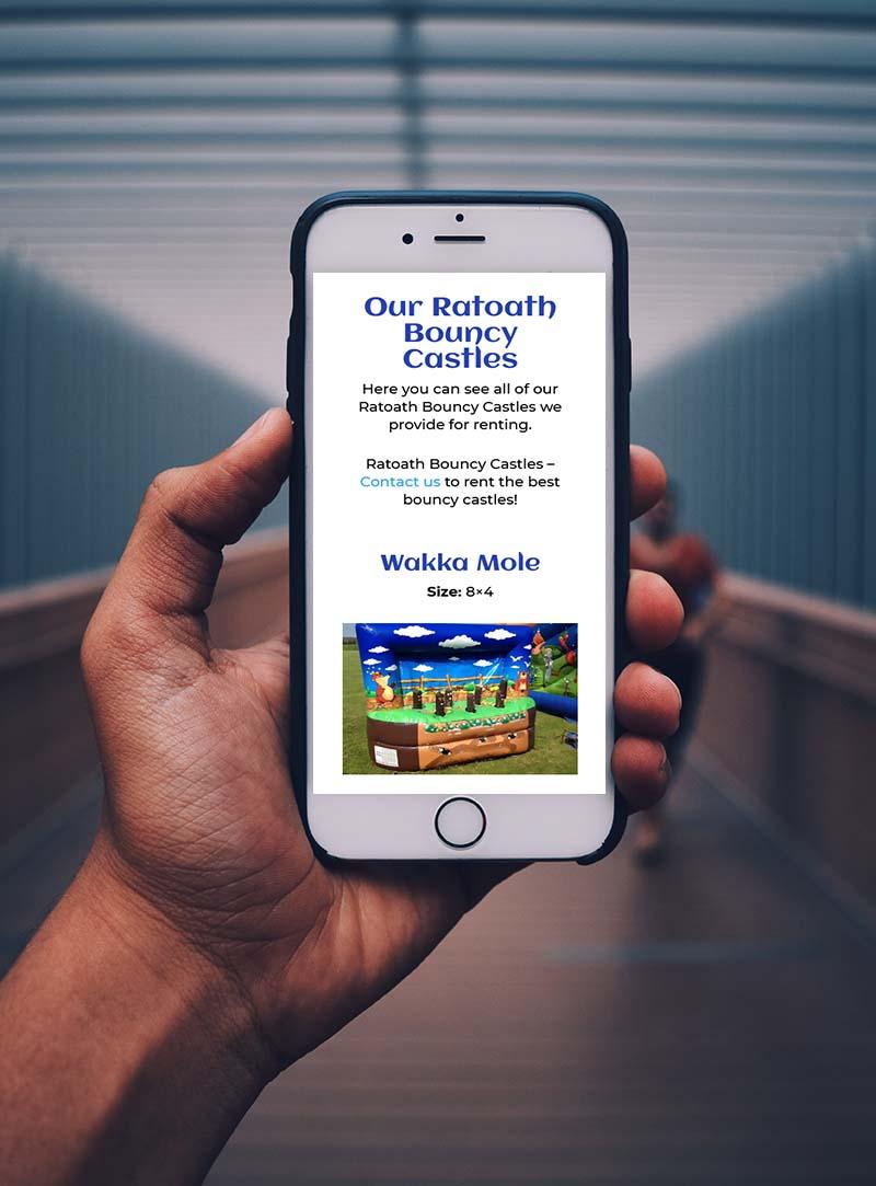 website design for bouncy castles ratoath