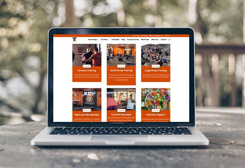 website design for a training studio