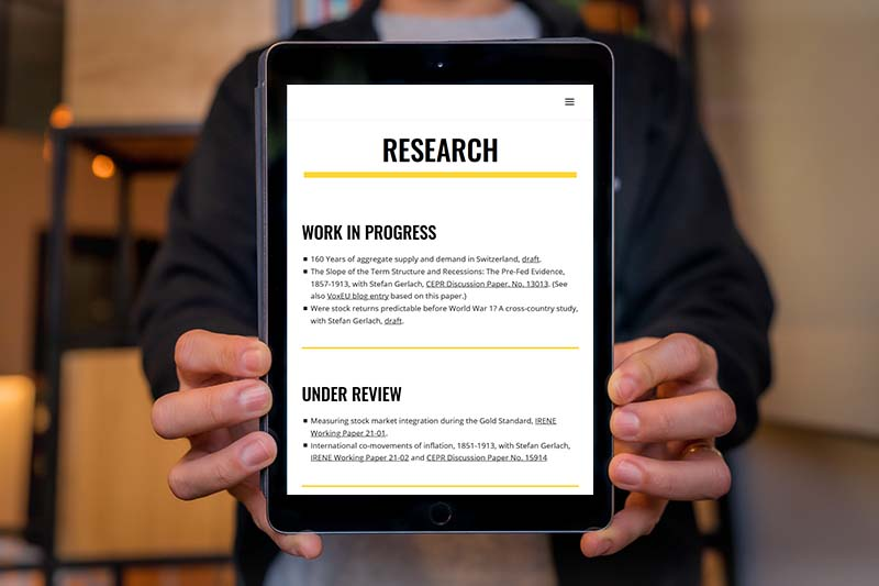 website design for a researcher