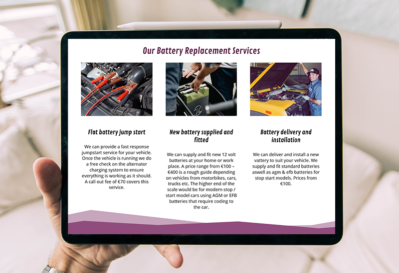 website design for battery replacement services
